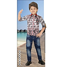 Boys Clothing Set of Navy Blue Denim Jeans & Red Cotton Shirt