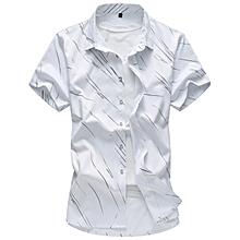 Print Men Shirts Short Sleeve Slim Shirts (White)