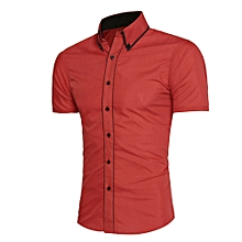Men Shirt Fashion Solid Color Male Casual Short Sleeve Business Shirt RD/L- Red