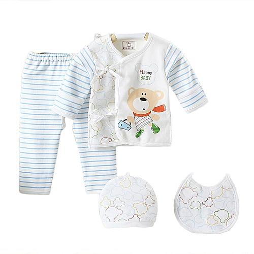 ec3d3013e4325 Allwin 5PCS 0-3 Months Pure Cotton Infant Suit Tops+Bottoms+Cap+Bib Boys  Girls Set blue 1329 @ Best Price   Jumia Kenya