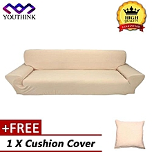 [Buy 1 Get 1 Free Cushion Cover] Stretch Elastic Slipcover Sofa Covers Form Fit Solid Color Furniture Protector Beige