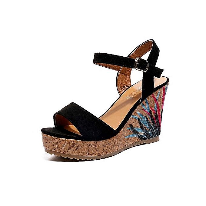 687ac9f73db4 Jiahsyc Store Bohemian Women Sandals Ankle Strap Straw Platform Wedges  Shoes High Heels Sandal-Black