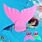 Mermaid Tail Mono Fin Flippers Swimmable Swimming Toy Prop For Kids Girls Study Pink-