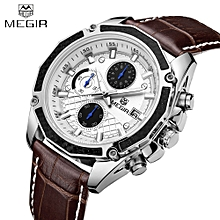 Genuine Leather Strap Quartz Man Wristwatch Awesome Analog Watch With Calendar and Sub-dial - brown