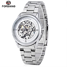 Forsining A694 Men Hollow Automatic Mechanical Watch Steel Strap-WHITE
