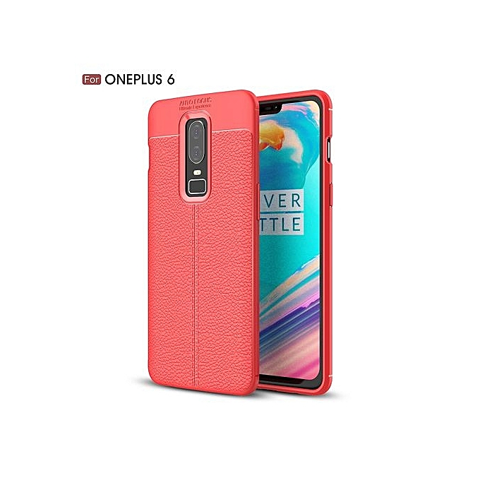 huge selection of 05805 49a68 OnePlus 6 Silicone Case, Litchi Pattern TPU Anti-knock Phone Back Cover For  OnePlus 6 - Red.
