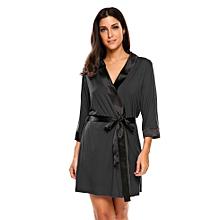 Women's Soft Spa Robe Collar Lightweight 3/4 Sleeve Sleepwear ( Black )