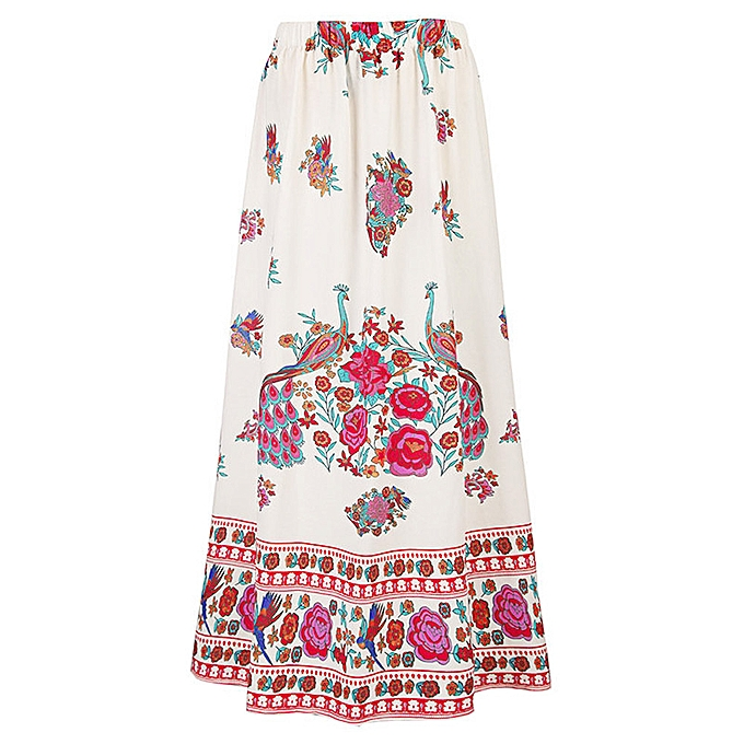 6f3f3e1153 ... jiahsyc store Women Boho Maxi Skirt Beach Floral Holiday Summer High  Waist Long Skirt ...
