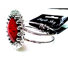 Cuff Bracelet One Size Silver with red stone adjustable