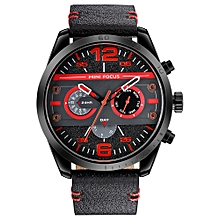 Fashion 3ATM Water-Proof Quartz Men Watch  Leather Sports Military Style Chronograph Man Casual Wristwatch Masculino Relogio + Box