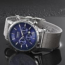 Fohting North Calendar Quartz Wrist Watch Stainless Steel Bracelet Men Watch - Blue