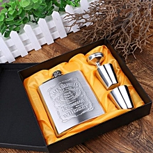 Pocket Hip Flask Whiskey Wine Bottle Jack Daniel's Gift Set with free Funnel and Shot Glasses 7OZ