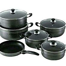 Nonstick Pots - 11 Pieces - Black