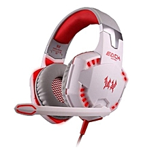Headphone Gaming, G2000 Gaming Ear Phone Casque Stereo Earphone PC Gaming Headphone(White Red)