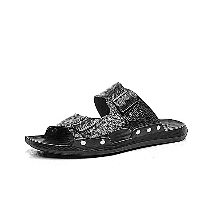 5e3bf1995303 S-0056 Summer Fashion Men Male Cool Genuine Leather Open Toe Casual Beach Shoes  Slippers