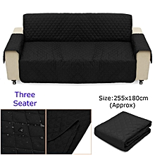 Couch Sofa Cover Removable Quilted Slipcover Pet Protector W/ Strap 1/ 2/ 3 Seater (Black)