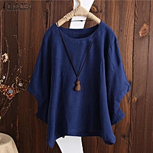 a8408c78eb95dd ZANZEA Women Casual Loose Cotton Blouse Tee T Shirt Basic Plus Size Top