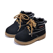 New Baby Kids Boy Girl Leather Snow Boots Lace Up Winter Warm Shoes Fashion Gift black-EU