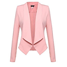 Women Long Sleeve Asymmetric Hem Blazer Front Open Solid Lapel OL Business Casual Waistcoat-Bright Pink