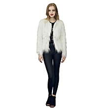 Africanmall store Floating Hair Jacket Fur Coat Women Lady Fur Overcoat Imitation Fur Faux Fox Jac- white