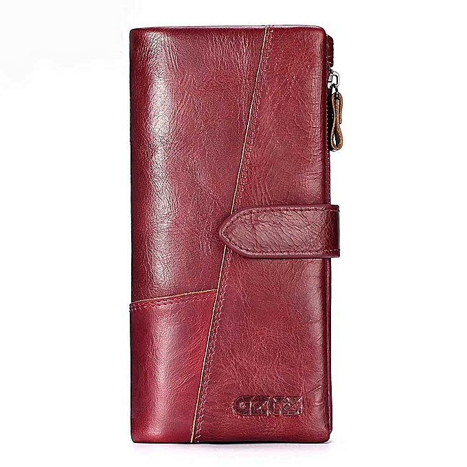 8c6987634529 Leather Women Wallet Lady Long Wallet Female Coin Purse Clamp For Money  Women'S Purse Clutch Handy Portomonee Rfid(Red-S)