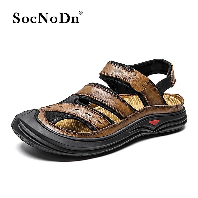 8656603df29b SocNoDn Men Fashion Summer Casual Beach Sandals Shoes Khaki   Best ...