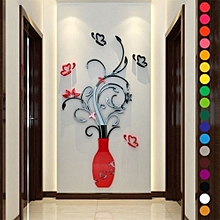 Acrylic 3D Flower Vase Wall Stickers Art Mural Decal Removable DIY Home Decor