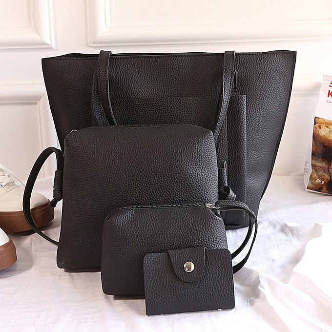 c10e611753 ... guoaivo Women Four Set Handbag Shoulder Bags Four Pieces Tote Bag  Crossbody Wallet ...