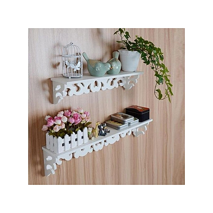 Buy Generic M White Wooden Carved Wall Shelf Display Hanging Rack Storage Rack Home Decor Best
