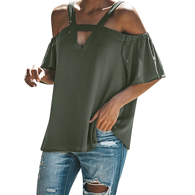 1d4651abb6927 ... Buy Generic Generic Womens Cold Off Shoulder Tops T Shirt V Neck