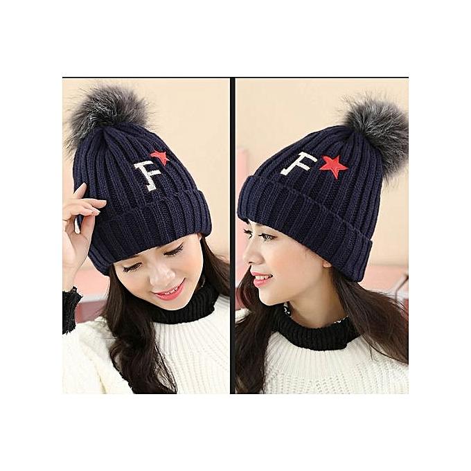 87bc763d77d ... Women Knit Winter Warm Crochet Hat Braided Baggy Beret Beanie Cap Navy