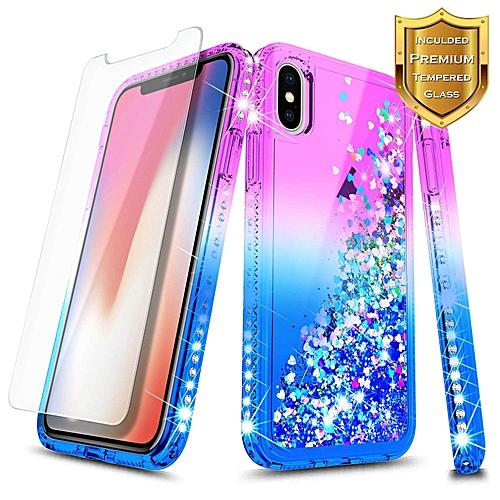 pretty nice 47784 8a79f iPhone X 5.8'' (2017) Bling Glitter Case + Glass Screen Protector