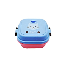 Home-Practical Cartoon Plastic Lunch Box Eco-Friendly Food Container Lunchbox blue