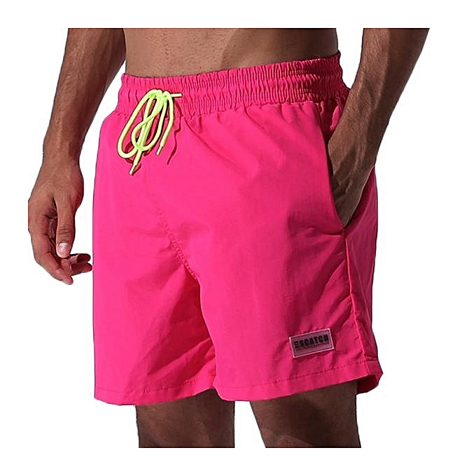 UNIVERSAL Loose Water Repellent Thin Sport Drawstring Solid Color Trunk  Beach Shorts For Men M-3XL Rose 297d87ea591