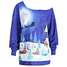 Plus Size Christmas Evening Printed Skew Neck Sweatshirt