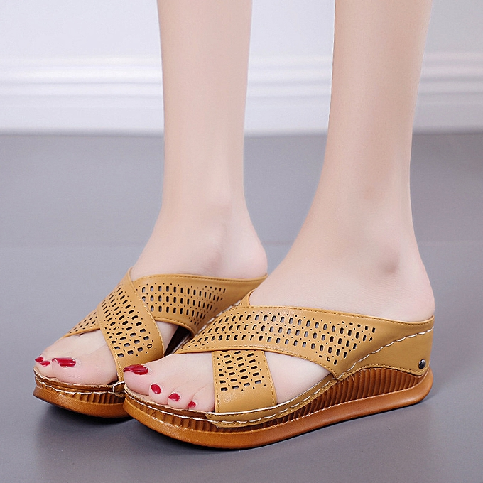 1af0540df0e2 Women Wedge Slippers Peep Toe Chunky Sandals Platform Heel Beach Leather  Shoes ...