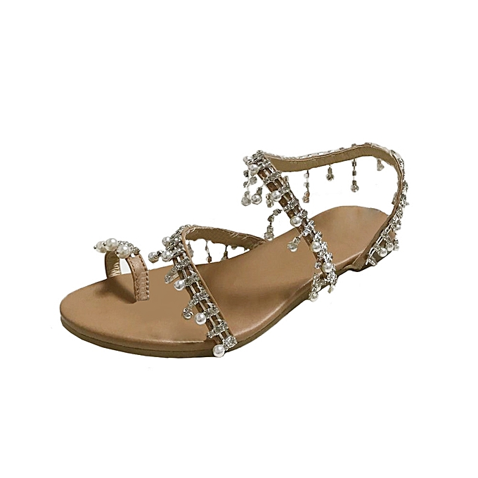 57d26a85cfa Xiuxingzi Fashion Women Beaded Sandals Summer Shoes Party Sexy Pearl Flat  Bottom Sandals ...