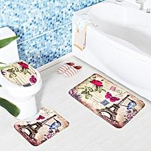 3 Sets Toilet Seat European Style Toilet Carpet Fabric Pedestal Iron Tower Printing Bathroom Mat