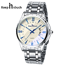 Silver Chronograph Men's Watch Silver With White Dial
