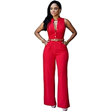 90b85784a8a New Summer Europe and America Fashion Women Jumpsuits Office Lady  Single-breasted High Elasticity Straight