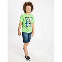 Boy Green Solid Regular Crew Neck T-Shirt