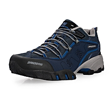 Spring Autumn Men Sports Outdoor Trekking Shoes Breathable Mesh Hiking Mountain Climbing Shoes Waterproof Anti-skid - Navy