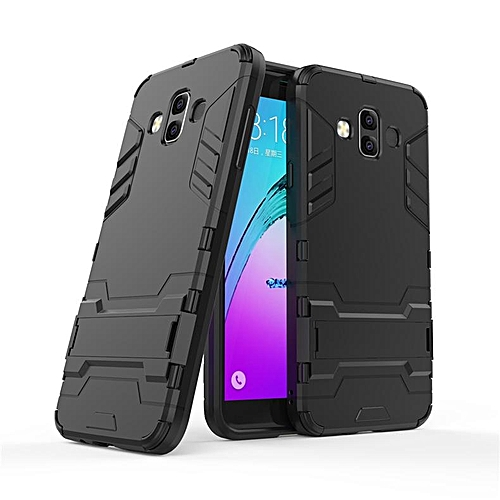 new arrival 12bfa 7b746 With Stand Hybrid Case For Samsung Galaxy J7 Duo Hard Silicone + PC Armor  Protective Back Cover For Samsung J7duo Phone Shell