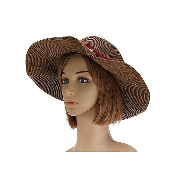 Summer Beach Women Wide Large Brim Sun Hat Straw Beach Hat Visor Cap Coffee 1766737f069