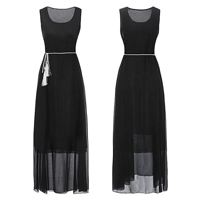 8a521c2a4eb1 Xiuxingzi Women Chiffon Solid Sleeveless Belt Casual Boho Beach Long Maxi  Dress