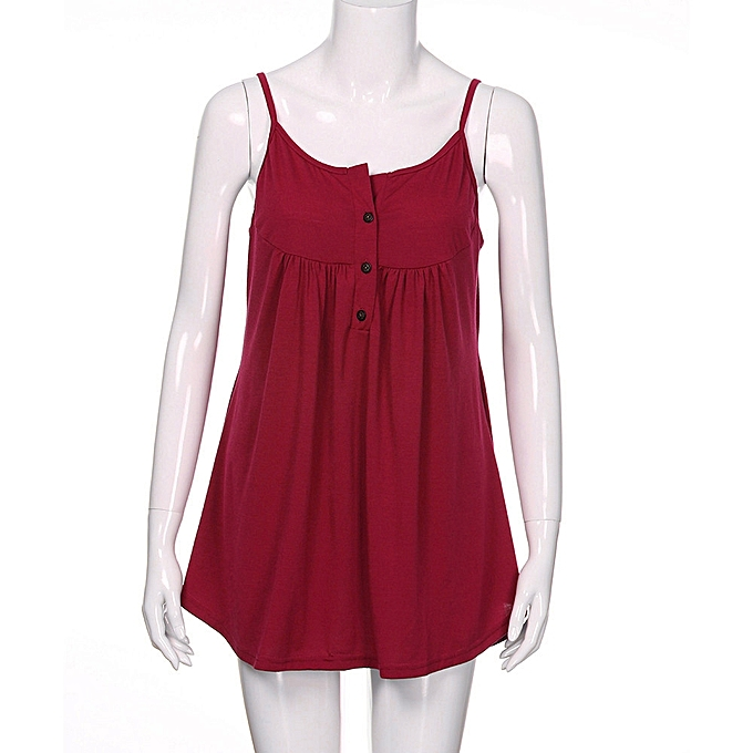 f3aaeb78061a5 ... Generic Womens Summer Sleeveless Solid Color Casual Swing Flowy Tank  Tops With Buttons A1 ...