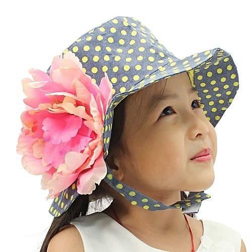 Fashion New Cute Kid Baby Toddler Girl Cotton Flower Hat Polka Dot Summer  Bucket Sun Cap Army Green 816f032956c