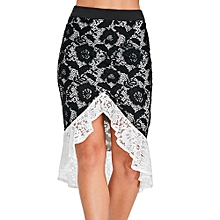 High Waist Lace Flounced Skirt - Black
