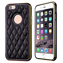 Luxury Leather Back Case Aluminum Bumper Cover For iPhone 6 4.7 -Black