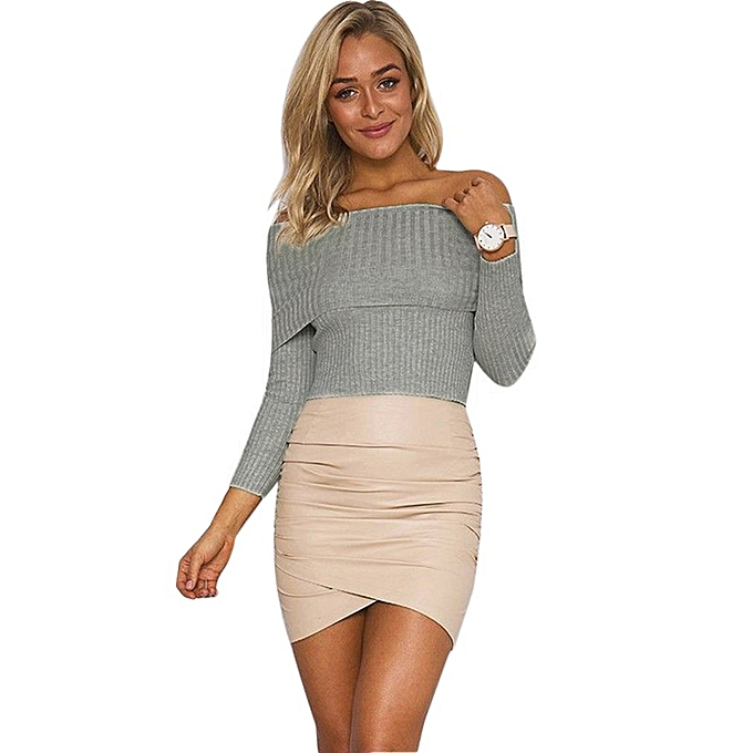 Sexy Strapless Knitting Tops Off Shoulder Women Knitted Long Sleeve Cardigan d0f562f69